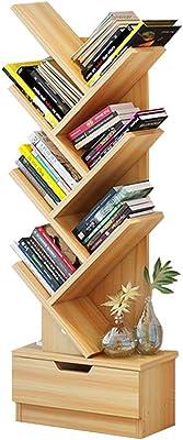 XXLlqRacks 8 Tier Simple Tree-Shaped Bookshelf Wood Floor-to-Ceiling Bookshelf Simple Floor-Standing Bookshelf/Shelf Study Bedroom (Size : 34x22X121cm)