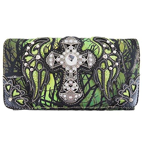 Western-Camouflage-Kreuz-Flügel-Geldbörse, einzelne Schultertaschen, Clutch, Damen, blockiert Handgelenk-Geldbörse, Gr�n (grün), Large