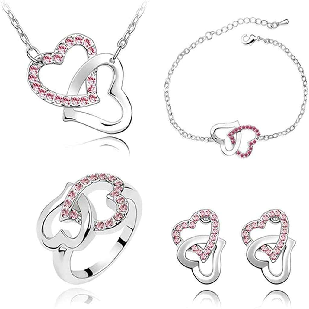 Women's Elegant Heart Necklace, Earrings, Bracelet, Ring Jewelry Set Gift for Christmas Wedding Birthday Valentine's Day Anniversary