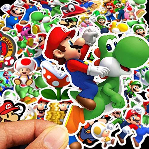 BAIBEI 100 Paquetes de Pegatinas de Dibujos Animados de Super Mario Brothers Pegatinas Impermeables para Botellas de Agua, Maletas, Ordenadores portátiles, teléfonos, Bicicletas, Motocicletas, Coches