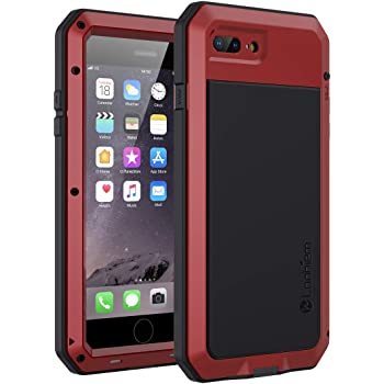 Lanhiem iPhone SE 2020 Case, iPhone 7/8 Case, Heavy Duty Shockproof [Tough Armour] Metal Case with Built-in Screen Protector, 360 Full Body Protective Cover for iPhone SE 7 8, Dust Proof Design -Red