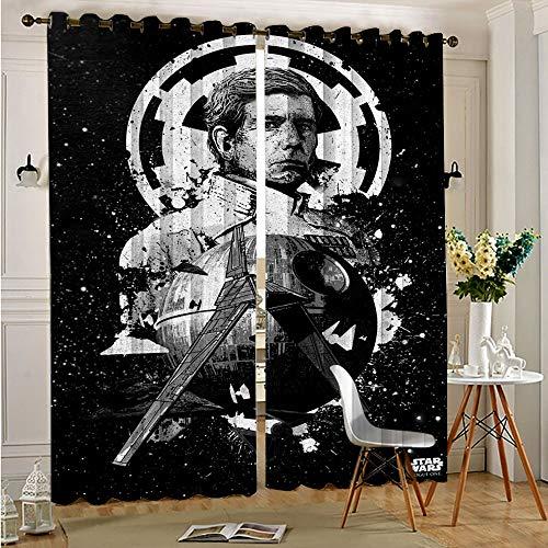 STTYE 2 cortinas de dormitorio de Star Wars Pilots Imperial Shuttle Cortinas opacas para dormitorio, cortinas opacas de 110 cm x 215 cm x 2 piezas