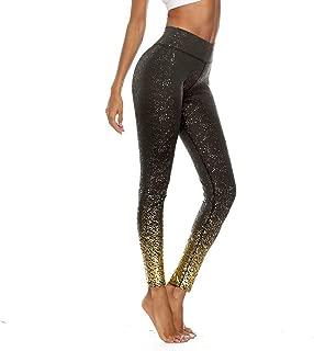 Women's Sparkle Glitter Leggings, High Waist Tummy Control Seamless Splash Workout Fitness Running Yoga Pants