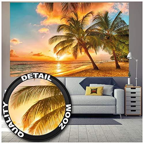 GREAT ART® Fototapete – Barbados – Wandbild Dekoration Urlaub Sonnenuntergang Meer Karibik Strand Palm Beach Sommer Insel Sunset Traumurlaub Foto-Tapete Wandtapete Fotoposter (210 x 140 cm)