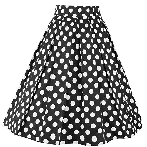 Dressever Women's Vintage A-line Printed Pleated Flared Midi Skirts Dot 2 Medium