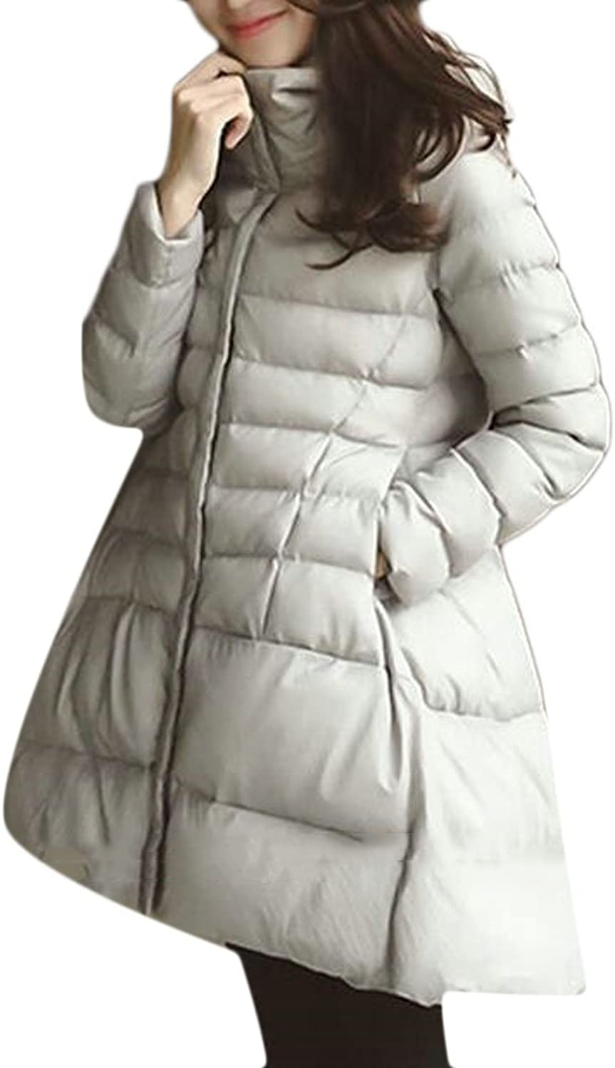 GAGA Womens Winter Stand Collar Long Sleeve Hooded Swing Down Jacket