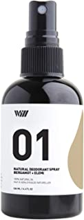 Way Of Will 01 All Natural Deodorant Spray Infused with Essential Oil. Refreshing Scent for Men and Women Leaves no Stain easy to Use. Spray Mist provides 24 Hour Protection (Bergamot + Elmi)