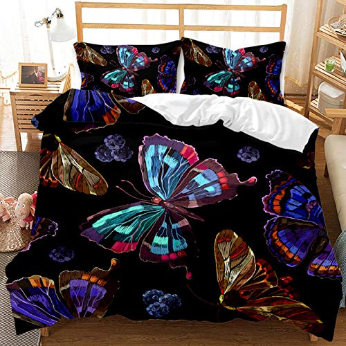 QXbecky Bedding Set Butterfly 3D Reactive Printing and Dyeing Series Quilt Cover Pillowcase 2, 3 Piece Set of Brushed Microfiber Warm and Breathable 228cm
