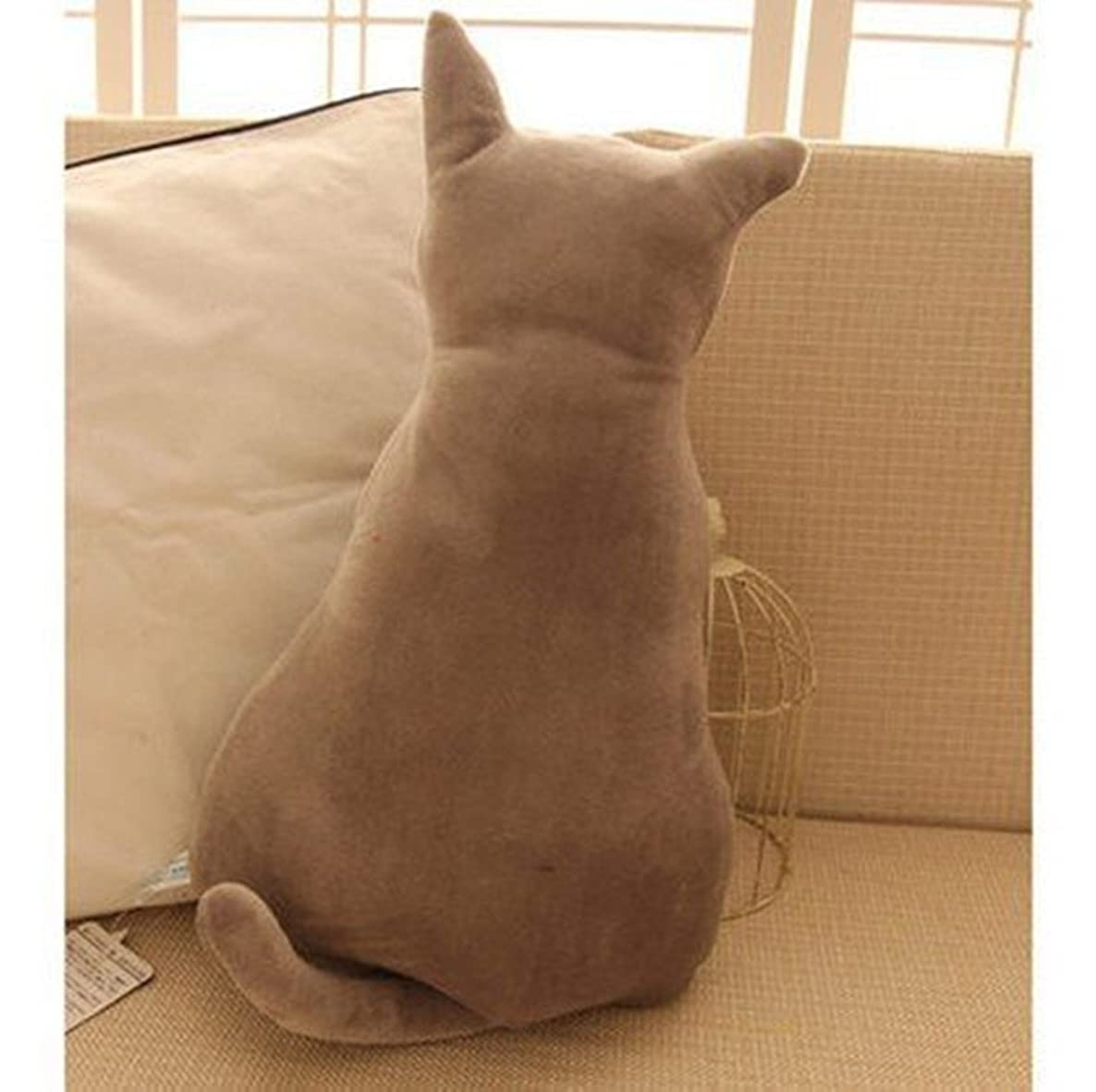 Cat Throw Pillow Christmas Gift Lovely Cat Shaped Design Stuffed Animal Throw Pillow for home decoration for Kids (45cm, gray)