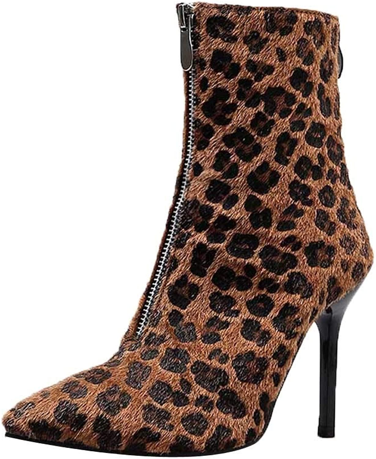 RedBrowm-women Leopard High Heel Ankle Boots Sexy Pumps Toe Pointed Boots shoes High Heel