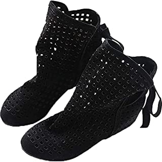 Flat Low Hidden Wedges Cutout Ankle Slip-On Boots, Fashion Ladies Daily Summer Boots Casual Shoes Cute Bootie,A,34