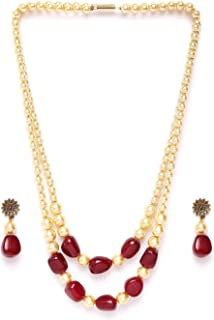 Vishal-Vatika Traditional Gold Plated 2 Layer String Pearl Necklace for Women/Girls Gift Jewelry