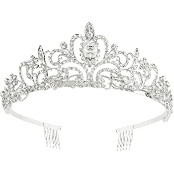 Makone Crystal Crowns and Tiaras with Comb Headband for Girl or Women Birthday Party Wedding Prom Bridal Valentine
