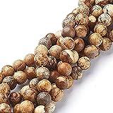 Perlas de piedras preciosas, jaspe de la imagen natural, jaspe de grado A, perlas de piedra, 4/6/8 mm, perlas de joyería, diseño de joyas, accesorios para manualidades (4 mm, 25 unidades)