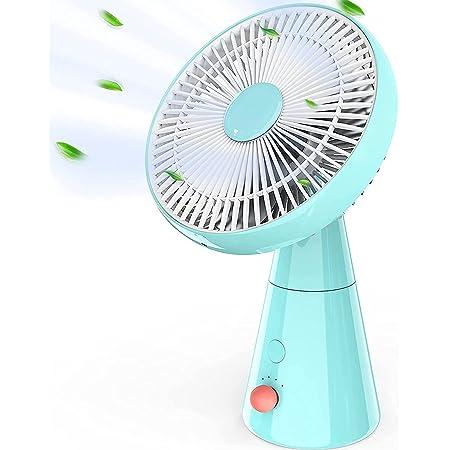 HLHome Ventilateur Silencieux, 25 cm Oscillant Ventilateurs de Table, 4 Vitesses Ventilateur Sans Fil, 5000 mAh Batterie Rechargeable USB Ventilateur de Bureau pour Chambre, Table, Bureau (Bleu)