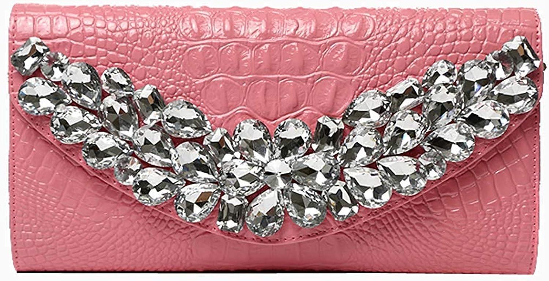 Ladies Handbag Women's Evening Clutch,Leather Diamond Shoulder Diagonal Evening Bag Wedding Party Prom (color   Pink, Size   26x14x5cm(10x6x2inch))