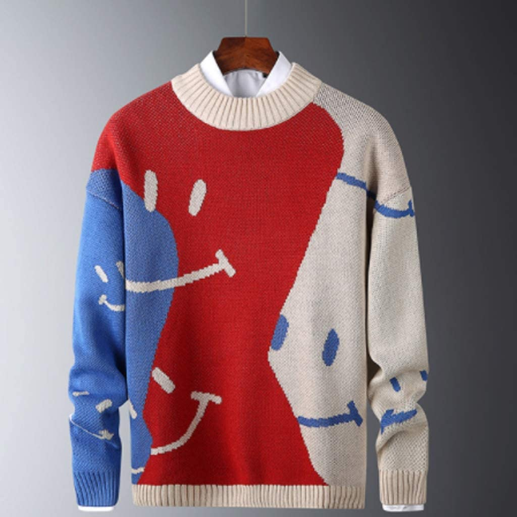 ZYING Casual Sweaters Mens Fit Knitted Slim Sweaters Cotton Long Sleeve Round Collar Male Warm Pullovers Patchwork Color Trendy Style (Size : M Code)