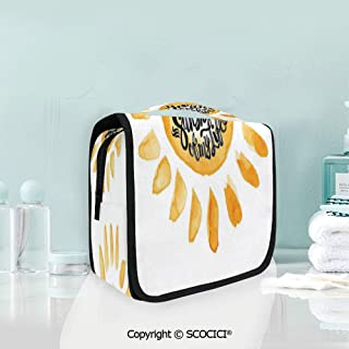 SCOCICI Travel Hanging Wash Bag Kit Watercolor Image Sunny Hot Life Inspire