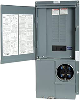 Square D by Schneider Electric SC2040M200PF Homeline 200-Amp 20-Space 40-Circuit Solar-Ready Combination Meter Socket and Main Breaker Load Center for Plug-on Neutral breakers