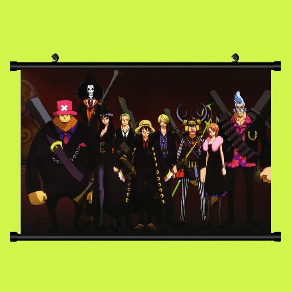 KaiWenLi ONE Piece//Strohhut Gang voller schwarzer Anzug//Anime-Karikatur h/ängende Bild//Scroll Fabric Painting//Poster Tapete//Otaku und Anime-Fan-Liebling Peripheral Produkte
