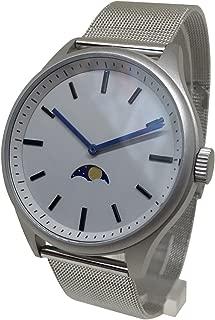 Bauhaus Sky Moonphase Watch - Silver Steel Modern Design Moon Age Uniform time