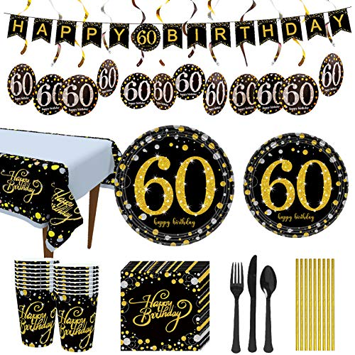 Trgowaul 60th Birthday Party Supplies - Black and Gold Disposable Paper Plates, Napkins, Cups, Tablecover Forks, Knives and Spoons for 16 Guests and Party Supplies Decorations Banner