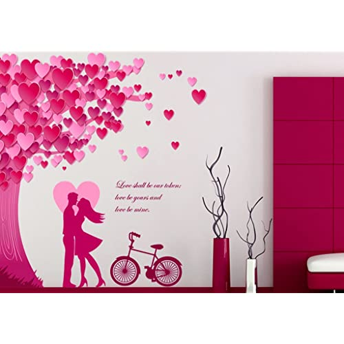 Decals Design 'Romantic Couple Under The Heart Leaves Tree and Love Quote with Bicycle' Wall Sticker (PVC Vinyl, 90 cm x 60 cm, Multicolour)