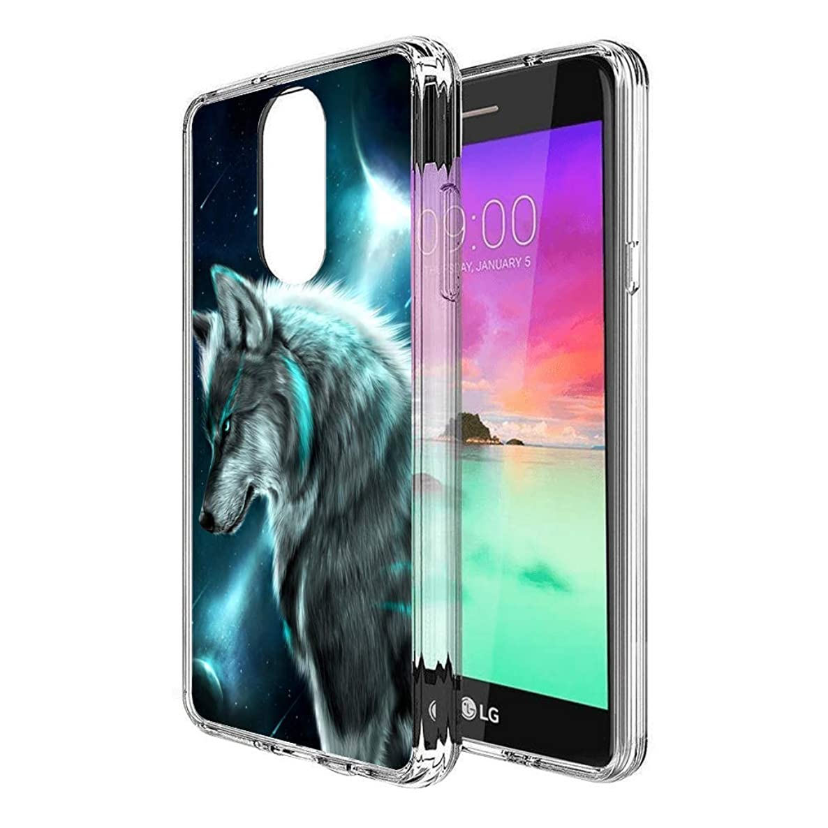Slim Clear Siberian Wolf Case for LG Stylo 4 Customized Design Soft TPU and Rubber Flexible Durable Shockproof LG Stylo 4 Protective Case-Anti-Slippery