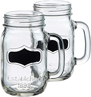 Circleware 76850 Yorkshire Glass Mason Jar Mugs with Chalkboard and Handle, Set of 4, Heavy Base Fun Glassware Drinking Beverage Cups for Water, Beer, Juice & Bar Decor 17.5 ounce Black