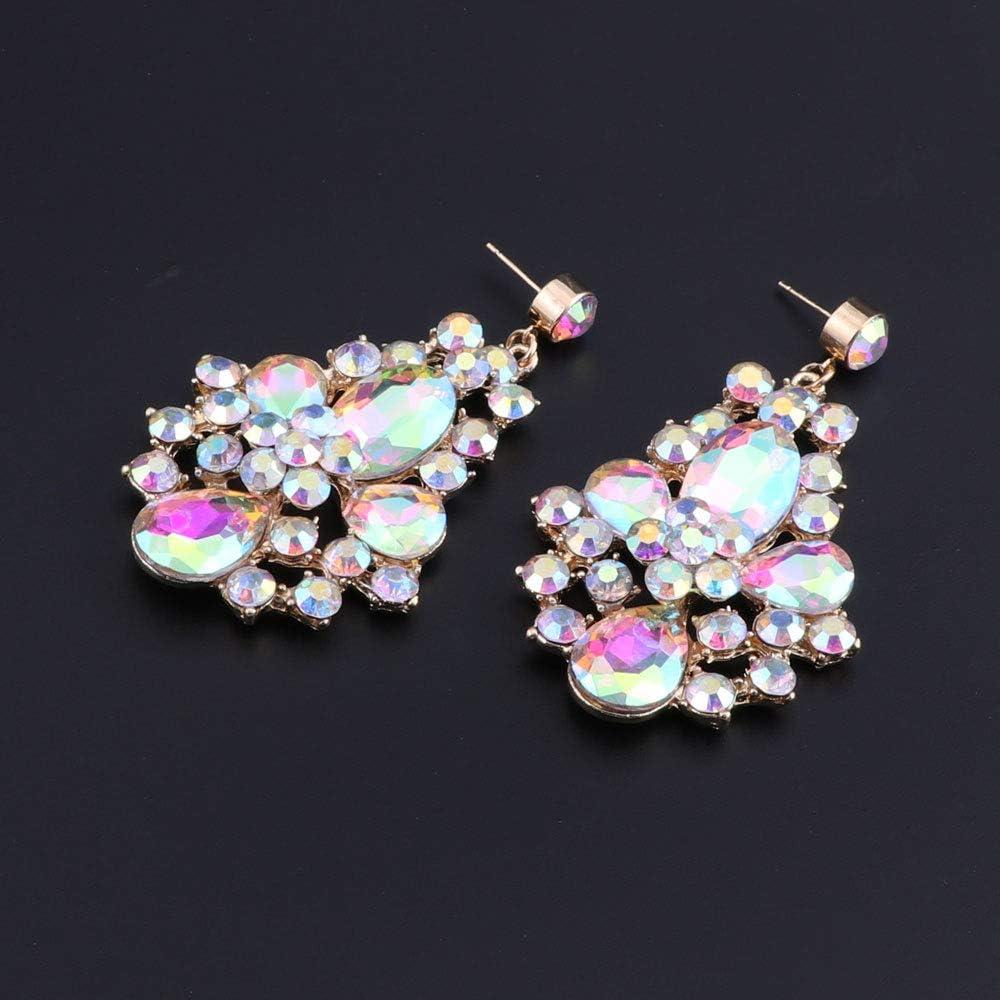 Women Statement Rhinestone Crystal Choker Collar Necklace Earring Fashion Jewelry Set with Gift Box