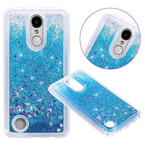 LG Aristo (MS210) / LG LV3 / LG K8 2017 Cover Case, NOKEA Soft TPU Flowing Liquid Floating Luxury Bling Glitter Sparkle Case Cover Fashion Design for LG V3/MS210 (Blue)