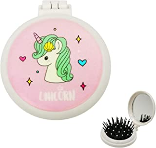 Folding Hair Brush, Pink Pop Up Hair Detangler Brush with Pocket Compact Mirror Bristle Massage Cushion Brush Collapsible Hairbrush for Kids Girls Makeup Travel Birthday Gifts, Unicorn Hair Brush