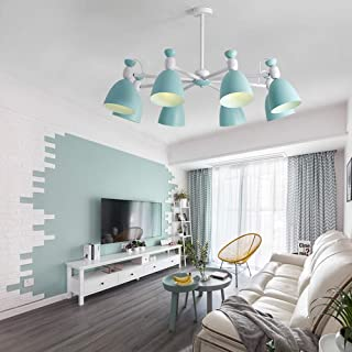 Xinqing Simple Nordic Olive Green Warm Light Wood Chandelier, Living Room/Bedroom Art Ceiling Light, E27 8 Light Source, Size D90 H35cm Good Material