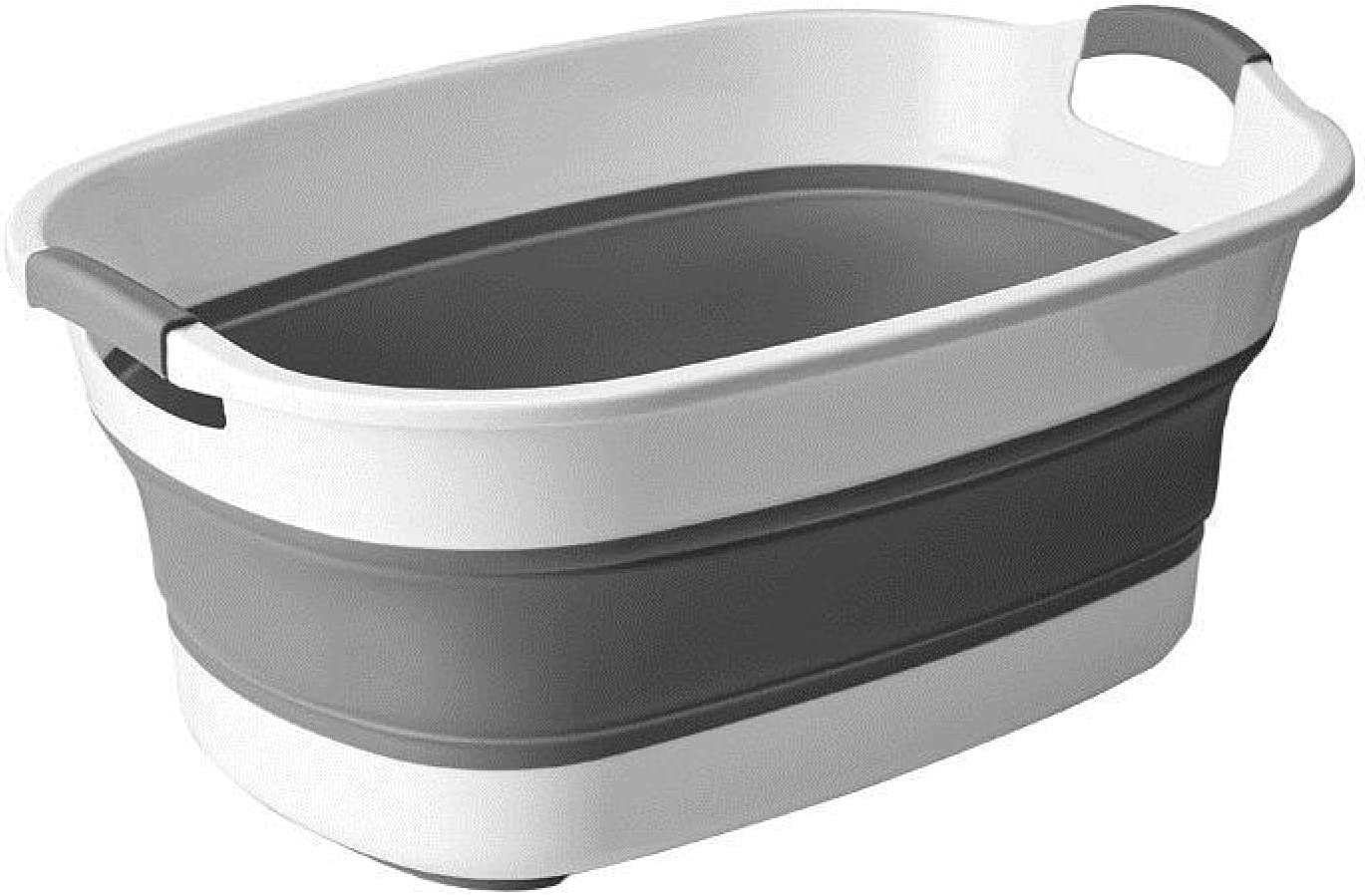 MEYYY Collapsible Plastic Oval Laundry Ranking TOP17 White 25 L Virginia Beach Mall Basket Grey