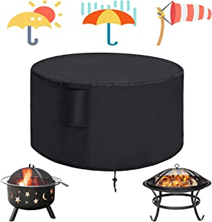Kasla 32 inch Patio Round Fire Pit Cover - Heavy Duty Waterproof Windproof Outdoor Table Cover