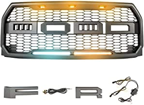 Raptor-Style Front Bumper Matte Grille Grill with White DRL Amber Turn Signal Light for Ford F-150 2015 2016 2017 Topfire Fury Grid Gladiator Vader