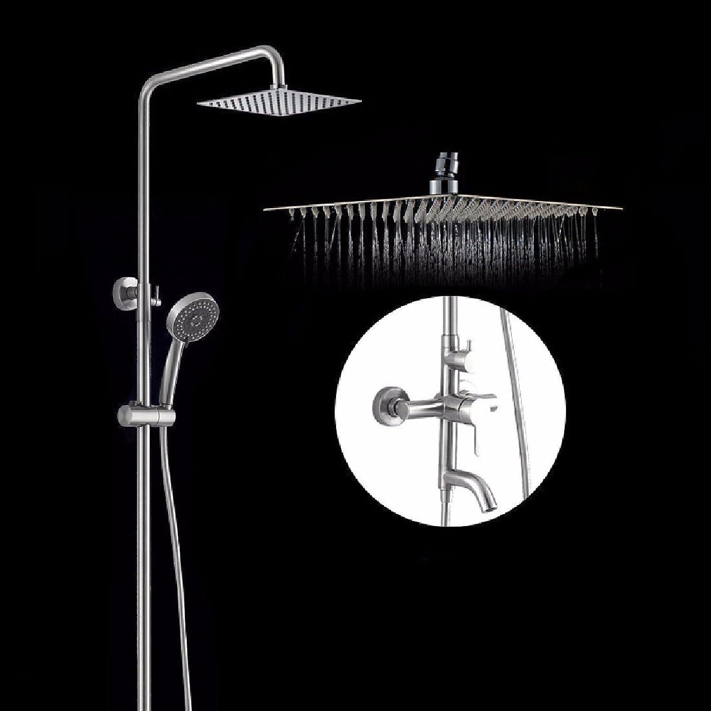YFF@ILU Edelstahl Dusche, Badewanne mit Dusche, Set, übergroe Dusche, 10 inchb Jet