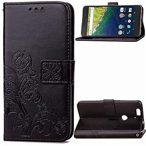 Lomogo Huawei/Google Nexus 6P Hülle Leder, Schutzhülle Brieftasche mit Kartenfach Klappbar Magnetisch Stoßfest Handyhülle Case für Huawei Nexus 6P - LOSDA040910 Schwarz