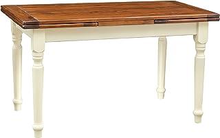 Biscottini Table à rallonge champêtre en Bois Massif Structure Chaux Chaux Chaux sur Plan en Noyer Antique L140xPR80xH80 cm