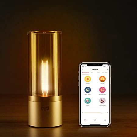 Yeelight Candela, Rechargable Smart LED Ambiance Romantic Candle Light, Bluetooth App Control Rotate Control,1800K Yellow Light Diammable, Night Light Bedside Lamp