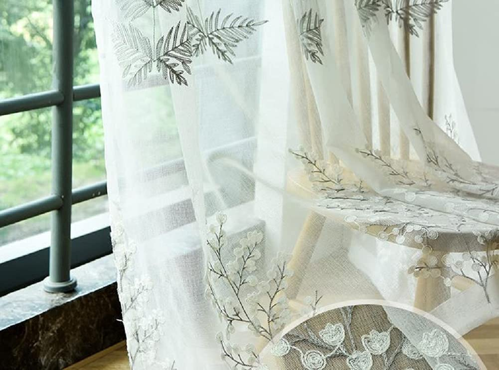 Animer and price revision HooHero White Nordic Style Pine Gauze Tree She Max 62% OFF Sheer Embroidered