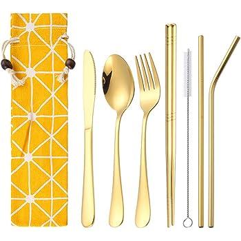Juego de cubiertos de acero inoxidable dorado, 8 piezas, juego de cubiertos con cuchillo, tenedor, cuchara, palillos, estuche para cocina, cena, viajes: Amazon.es: Hogar