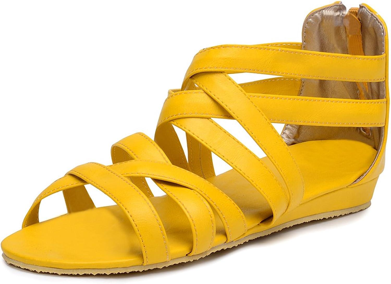 Odema Womens Summer Flat Sandals Cross-Strap Sandals