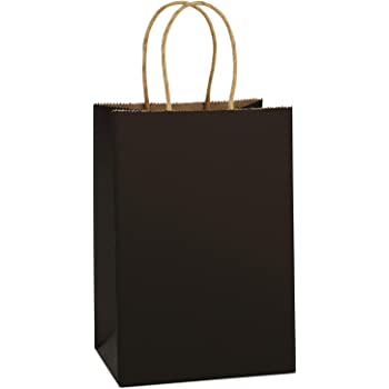 BagDream Gift Bags Kraft Paper Bags 100Pcs 5.25x3.75x8 Inches Small Shopping Bag Kraft Bags Party Bags Black Paper Bags with Handles Bulk