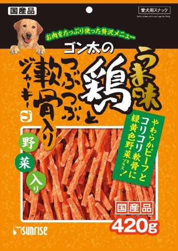 ゴン太のうま味鶏とつぶつぶ軟骨入りジャーキー 緑黄色野菜入り 420g
