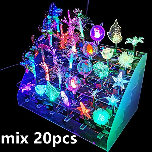 cuhair 20 Pack Mix Feuille Fleur Sprout Bean Star LED Light-Up Clignotant Pince À Cheveux En Épingle À Cheveux Barrettes Lumières pour Glow Party Favors Fournitures Cadeau De Noël