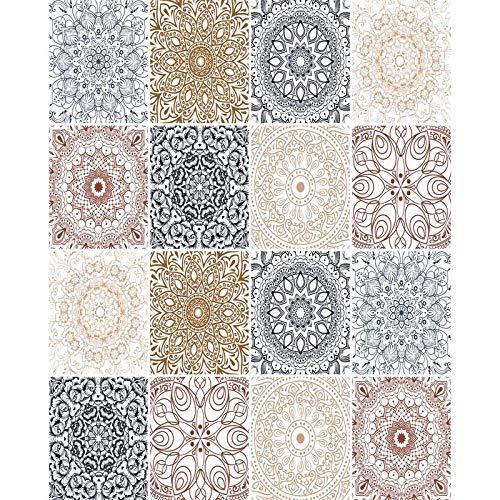 FoLIESEN Fliesenaufkleber - Fliesen-Folie Bad - Klebefolie Küche - Patchwork No.12 -16 Klebefliesen, BxH:20x25 cm