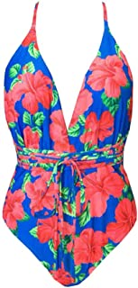 Sunhusing Womens Bohemia Style Small Floral Print Siamese Sexy Drawstring Strappy Lace-Up Swimsuit Beachwear