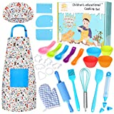 KALUDYA Kids Cooking and Baking Set - 37 Pcs Kids Chef Role Play Includes Kids Chef Hat and Apron,...