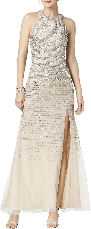 Adrianna Papell Womens Halter Sequined Evening Dress